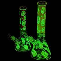 "14"" Glow In The Dark Diamond Skull Decal Beaker Water Pipe - with 14M Bowl (MSRP $100.00)"