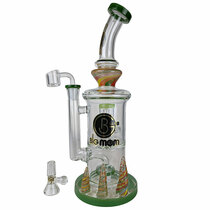 """Big Mom - 13"""" Horned Base Showerhead Perc Big Rig Water Pipe - with 14M Bowl & 4mm Banger (MSRP $160.00)"""