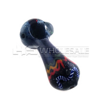 """4"""" USA FRIT HEAD WITH HEAVY FUMED SPOON HAND PIPE 3(Individual Assorted)"""