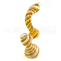 "7"" Rasta & Silver Fumed Bubbler Hand Pipe (MSRP $18.00)"