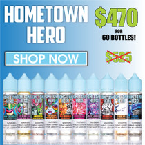 Hometown Hero E-Liquid 60ML INTRO PROMO PACK (60 Bottles) *Drop Ship*(MSRP $14.99 Each)