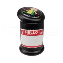 Assorted Design 50mm 4Part Zinc Grinder + Black Uv Jar with Jar Label (MSRP $25.00)