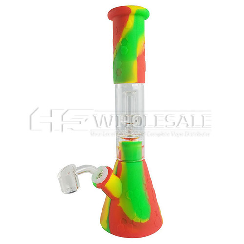 """11"""" Silicone Beaker Glass Circ Perc Water Pipe - with 4mm 14M Banger (MSRP $50.00)"""