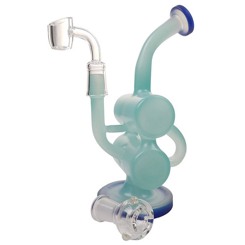 """8"""" Double Barrel Recycler Water Pipe - with 14F Bowl & 4mm Banger (MSRP $100.00)"""