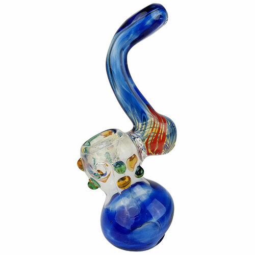 """6"""" Multi Marble Color Work Bubbler Hand Pipe (MSRP $50.00)"""