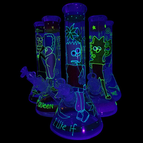 "13"" 7mm Glow In The Dark Hand Painted Art Work Beaker Water Pipe - with 14M Bowl & 4mm Banger (MSRP $80.00)"