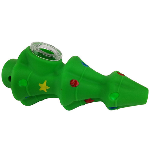 """4"""" Silicone XMas Tree Spoon Hand Pipe - Single (MSRP $25.00)"""