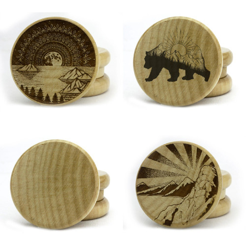 """2 Piece 2"""" Wooden Herb Grinder By Green Star *Drop Ship* (MSRP $9.99)"""