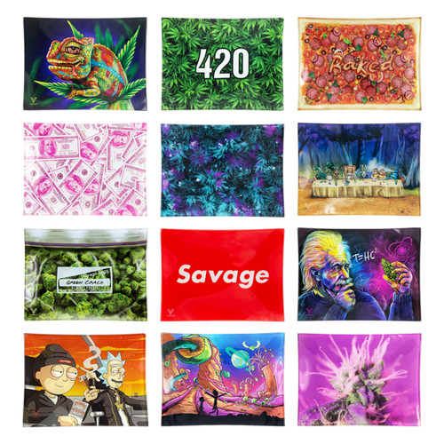 V Syndicate - Shatter Resistant Glass Rolling Tray - Small - All Styles (MSRP $19.99)
