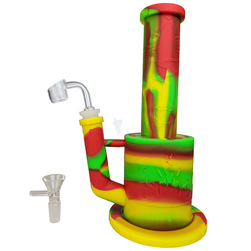 """10"""" Mixed Color Silicone Banger Hanger Water Pipe - with 14M Bowl & 4mm Banger (MSRP $45.00)"""