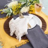 Ashra Fringed Mustard Table Linen Range [MUSLASHRA19E]
