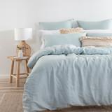 Washed Linen Dusty Blue Quilt Cover Set [MUSBLINEN20C]