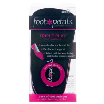 Triple Play Black - Heel Insert Insoles in Packaging - by Foot Petals