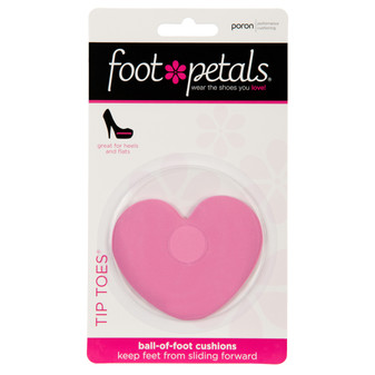 Tip Toes Pink Heart - Ball of Foot Shoe Cushion Insert Pads in Packaging - by Foot Petals