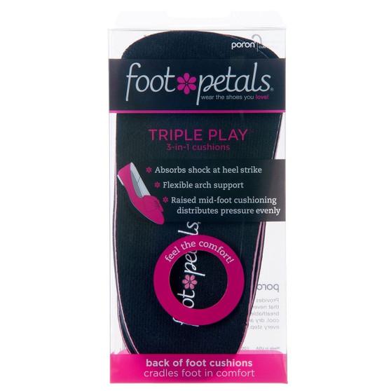Triple Play Black - Heel Insert Insoles in Packaging - by Foot Petals