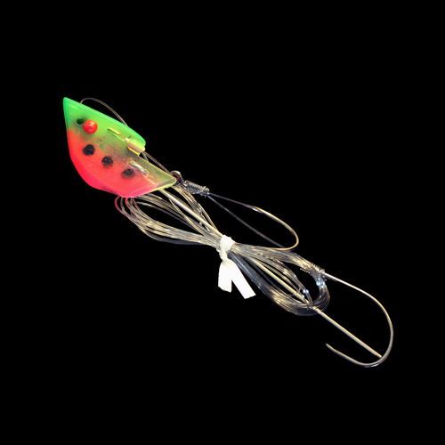 Anchovy Classic Bait Head - Watermelon, Rigged Double Snelled Barbless Hooks