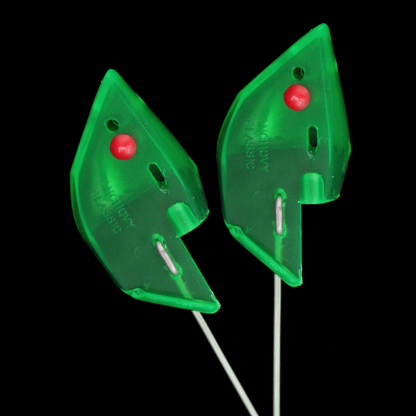 Anchovy Classic Bait Head - Green, Unrigged 2pk