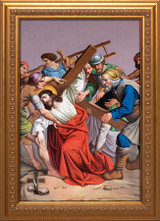 St. Peter's Stations of the Cross - Gold Framed Canvases (Set of 14)