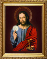 Christ Holding the Eucharist Framed Art