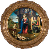 Nativity with Kneeling Angel - Round Framed Canvas