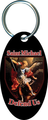 St. Michael Defend Us Oval Keychain
