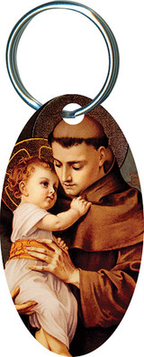St. Anthony with Jesus Oval Keychain