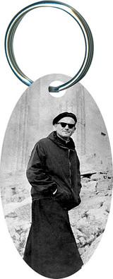 Pope on a Mission (JPII) Oval Keychain