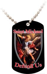 St. Michael Defend Us Black Dog Tag
