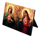 Sacred and Immaculate Hearts Horizontal Desk Plaque