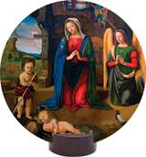 Nativity with Kneeling Angel Round Desk Plaque