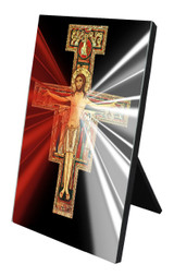 San Damiano Divine Mercy Vertical Desk Plaque