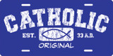 Catholic Original (blue) License Plate