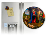 Nativity with Kneeling Angel Round Magnet