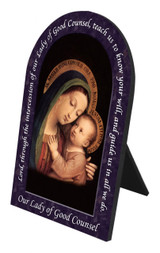 Our Lady of Good Counsel Prayer Arched Desk Plaque