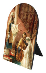 Wedding of Joseph & Mary Arched Desk Plaque