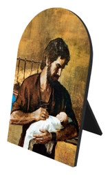 St. Joseph (Young With Jesus) Arched Desk Plaque