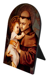 St. Anthony with Jesus Arched Desk Plaque