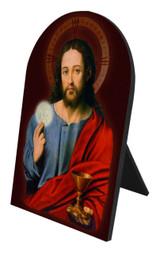 Christ With Eucharist Arched Desk Plaque