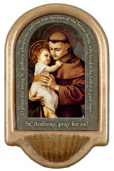 St. Anthony with Jesus Prayer Holy Water Font