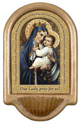 Our Lady of Mt. Carmel Prayer Holy Water Font