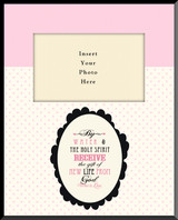 Gift of New Life Baptism Pink Vertical Picture Wall Plaque (Insert Your Photo)