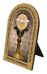 Chalice with Holy Spirit Arched Desk Plaque