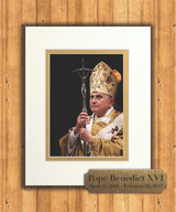 Pope Benedict with Paschal Staff 8x10 Matted Print with Commemorative Plate