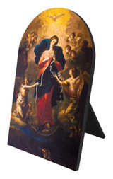 Mary Undoer of Knots Arched Desk Plaque
