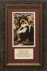 La Pieta Matted with Prayer - Ornate Dark Framed Art