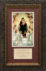 Queen of the Angels Matted with Prayer - Ornate Dark Framed Art