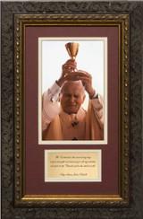 St. John Paul II Raising Chalice Matted with Prayer - Ornate Dark Framed Art