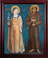 Sts. Francis and Clare Full Length - Cherry Framed Canvas