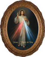 Divine Mercy - Oval Framed Canvas