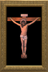 Crucifixion by Velazquez - Gold Framed Canvas